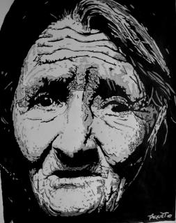 Frédéric Piquet, Portrait de vieille femme (dessin à l'encre de Chine)
