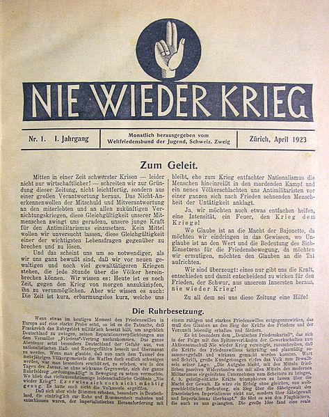 'Nie Wieder Krieg' (Genève, 1923)