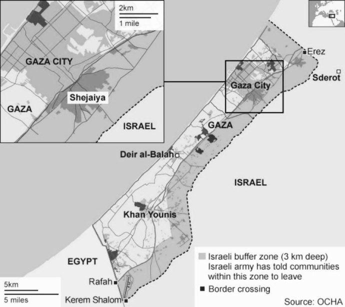 cartographie de la 'zone-tampon' instaurée par l'armée israélienne dans la bande de Gaza (telle qu'insérée dans un article du 'Daily Beast' du 28-07-14)