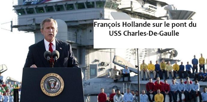 François Hollande sur le pont du USS Charles De Gaulle